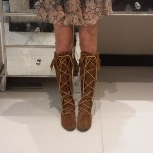 Fringed Suede Knee Boots- Festival Gear